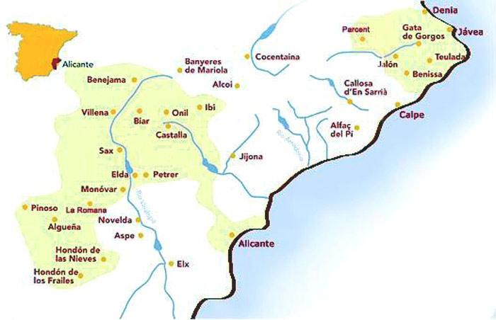 Аликанте на карте Испании