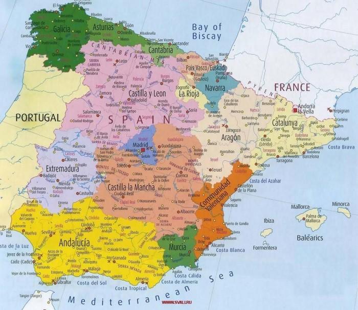 Карта Испании подробная