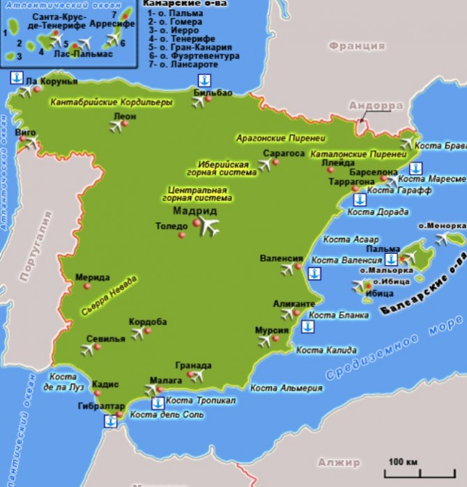 Карта Испании с курортами